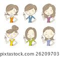 다양한 헤어 스타일 미소 여성 일러스트 세트 26209703