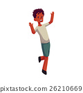 Little black boy raising hands in happiness and 26210669