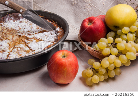 Stock Photo: Cheesecake with fresh fruits on light marble