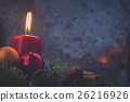 advent wreath with burning candles 26216926