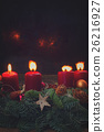 advent wreath with burning candles 26216927
