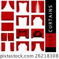 vector set of red silk curtains with light 26218308