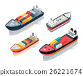 Set of Seagoing Cargo Ships Feeder Vessels. Vector 26221674