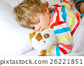 little blond kid boy in colorful nightwear clothes 26221851