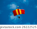 Skydiver and colorful parachute on blue sky  26222525