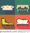 Bedroom home decoration icon set, flat style. 26222717