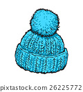 Bright blue winter knitted hat with pompon 26225772