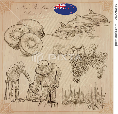 New Zealand. Pictures of Life. Vector pack. 26226845