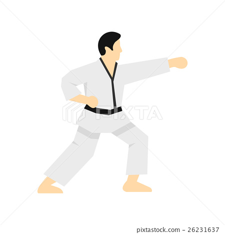 Karate fighter icon, flat style 26231637