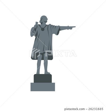 Christopher Columbus Statue icon, flat style 26231685