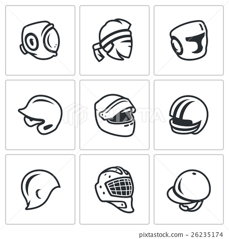 Vector Set of Sports hat, cap and headband Icons.  26235174