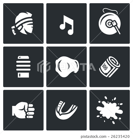 Vector Set of Muay Thai Icons.  26235420
