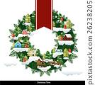 Vector Christmas village wreath. 26238205