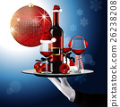Wine Bottle and Glass in Christmas Costume. vector 26238208
