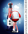 Vector of Christmas Wine Glass and Wine Bottle 26238380