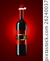 Vector of Wine bottles with Santa hat 26240037