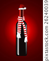 Vector of Wine bottles with Santa hat 26240039