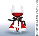 Vector of Red wine glass. Christmas party 26240096