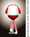 Vector of Wine glass with earmuffs and scarf 26240180