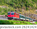 Passenger train is climbing up the Gotthard pass - 26241424