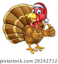 Cartoon Christmas Turkey Bird in Santa Hat 26242712