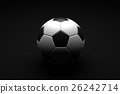 Soccer ball on black background. 3D illustration 26242714