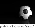 Soccer ball on black background. 3D illustration 26242715