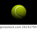 Tennis ball on black background. 3D illustration 26242790