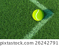 Tennis ball in The Corner Court. 3D illustration 26242791