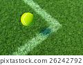 Tennis ball to the corner court. 3D illustration 26242792