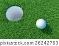 Golf ball on the green lawn. 3D illustration 26242793