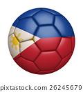 필리핀 플래그 축구 근접, 흰색 배경 (고해상도 3D CG 렌더링 / 그림 색) 26245679