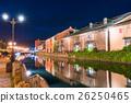otaru canal, night scape, night scene 26250465