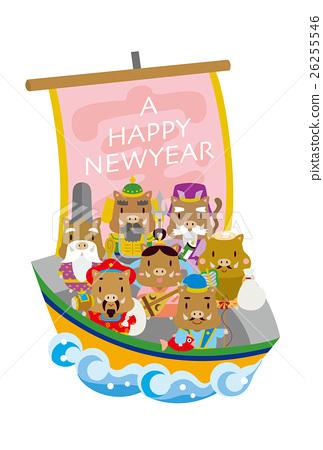 cards การ์ดปีใหม่】เจ็ดเทพเจ้าผู้โชคดีขี่เรือสมบัติ (หมูป่า) 26255546