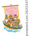 【新年賀卡】七個幸運神騎著一艘寶船(野豬) 26255547