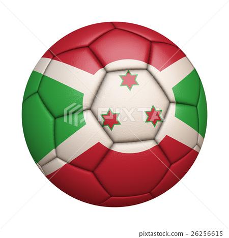 蒲隆地國旗足球特寫,孤立在白色背景中(高分辨率 3D CG 渲染∕著色插圖) 26256615