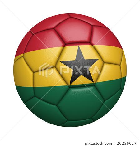 迦納國旗足球特寫,孤立在白色背景中(高分辨率 3D CG 渲染∕著色插圖) 26256627