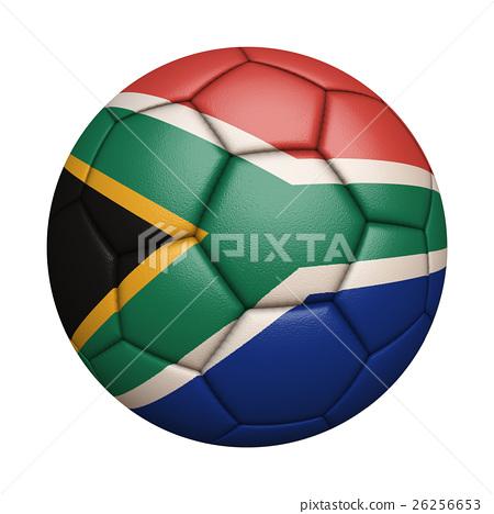 南非國旗足球特寫,孤立在白色背景中(高分辨率 3D CG 渲染∕著色插圖) 26256653