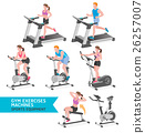 Gym exercises machines sports equipment.  26257007