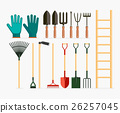 Set of garden tools and gardening items. 26257045