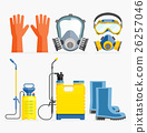 Set of pesticide tool. Gas mask and sprayer. 26257046