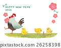 chicken, rooster, new year's card 26258398