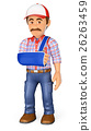 3D Worker with arm in sling. Occupational accident 26263459