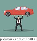 Businessman carry a heavy car 26264033