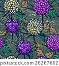 Seamless pattern with autumn chrysanthemums 26267602