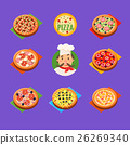 pizza, set, icons 26269340