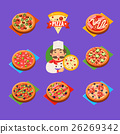 pizza, set, icons 26269342