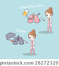 cute cartoon doctor and lung 26272320