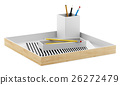 brown desk organizer with office supplies isolated 26272479