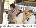 女性 參觀神社或寺廟 朋友 26277418